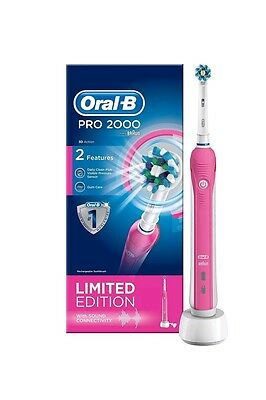Braun Oral-B PRO2000 PINK CrossAction 3D Electric Rechargeable Power Toothbrush