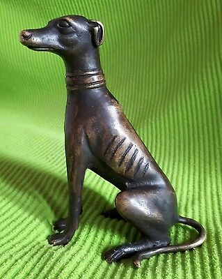 VINTAGE BRONZE SCULPTURE of a GREYHOUND DOG / WHIPPET FIGURE with Collar