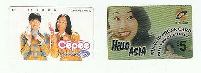 2 diff telephone cards from Japan people