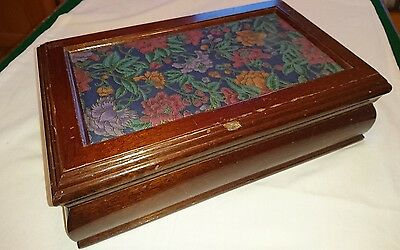 vintage wooden jewellery box with fabric centre dark wood beautiful woodwork