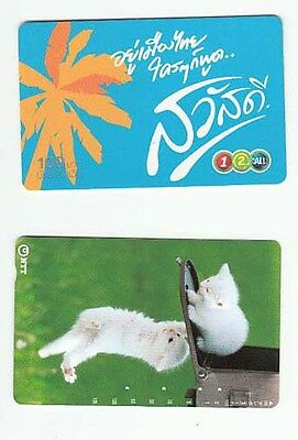 2 diff telephone cards from Japan kittens