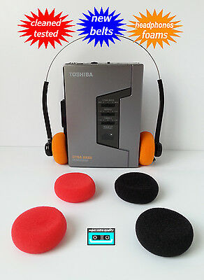Walkman cassette player Toshiba NEW BELTS CLEANED WORKING & TESTED!