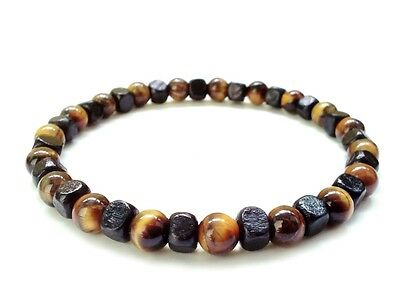 men bracelet stretch wristband beaded Tiger's Eye stone wood beads surfer gift