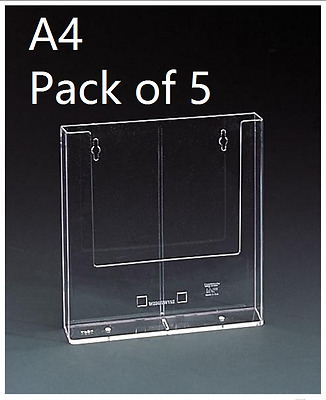 Pack of 5 - A4 Portrait Clear Perspex Acrylic Wall Mounted Leaflet Holders