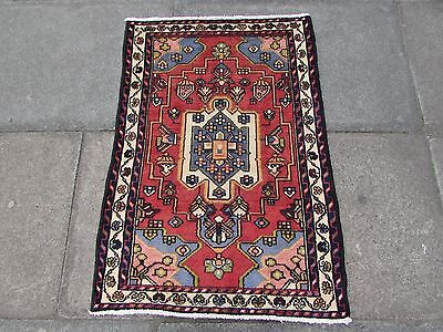 Old Traditional Hand Made Persian Rug Oriental Rug Wool Pink Small Rug 105x75cm