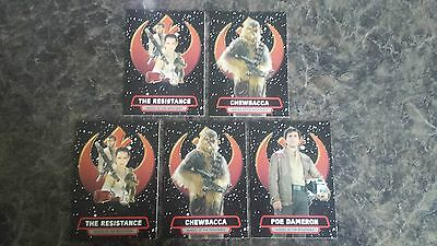 Topps Journey To Star Wars:the Force Awakens Heroes Of The Resistance X 5
