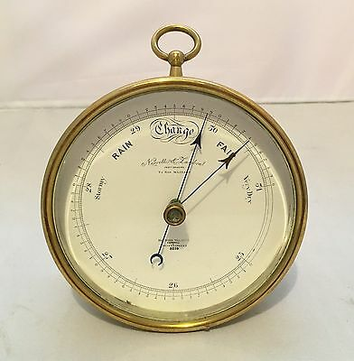 Large Antique Brass Aneroid Barometer by Negretti & Zambra London Bulkhead Style