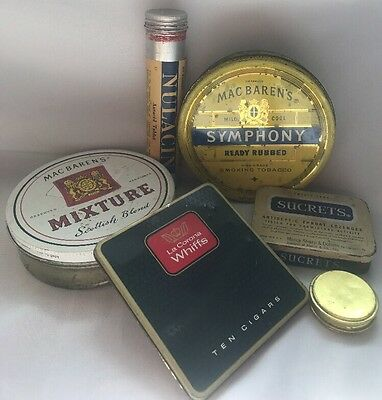 Vintage Mixed Tin Container lot~Tobacco/Medicine (M)