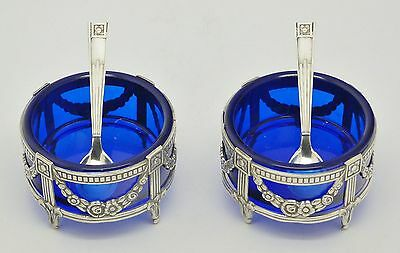 Gorgeous Spanish 915 Solid Silver Matching Pair Salts & Spoons Art Nouveau Style