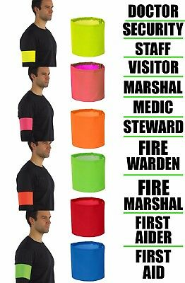 Hi Viz Arm Bands Printed SECURITY STEWARD FIRST AID DOCTOR MARSHAL VISITOR MEDIC