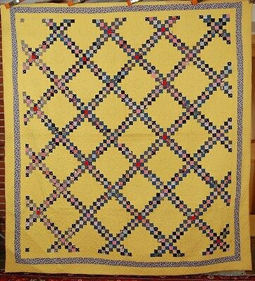 WELL QUILTED Vintage Irish Chain Antique Quilt ~SMALL POSTAGE STAMP PIECES!