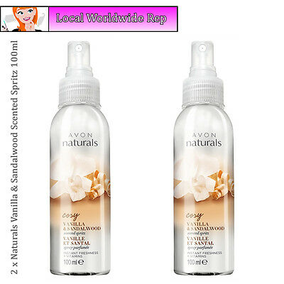 2 x Avon Naturals Vanilla & Sandalwood Scented // Room Body Spray Spritz 100ml