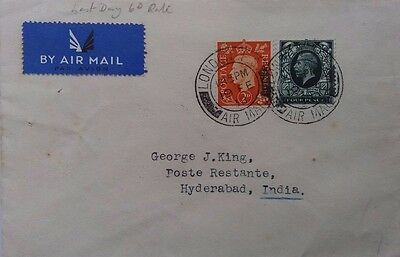 Great Britain 1938 Cover Sent Airmail To India Last Day Of 6 Pence Rate