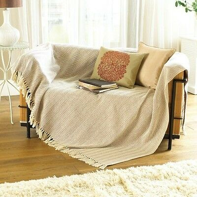 1 X Natural 100% Cotton Traditional Como Blanket Home Sofa Bed Throw - 127 x ...