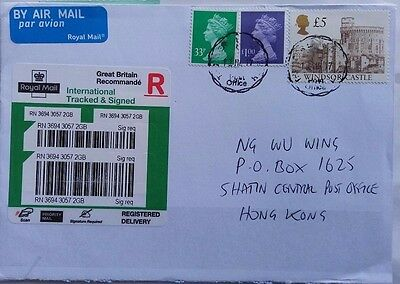 Great Britain International Tracked Cover Re-Registered Label Applied Hong Kong