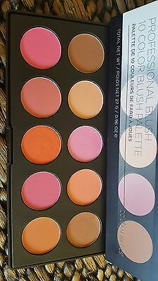 AUTHENTIC USA BH Cosmetics Professional 10 Color Blush Pan Palette BNIB