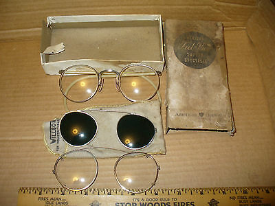 3 VINTAGE SAFETY GLASSES Ful Vue 2 Clip On 1 Green Willson STEAMPUNK