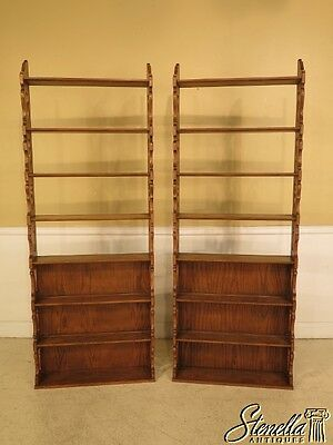 28750: Pair BAKER Oak Tiered Open Bookshelf Bookcases