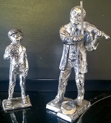 Vintage Heavy Silver Metal Man Playing Fiddle & Boy Eating Sandwich Figures