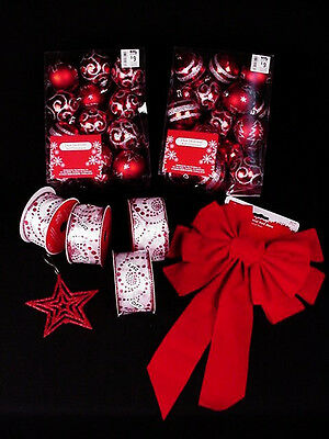 Lot of Christmas decorations new ornaments bulbs red white silver ribbon bow
