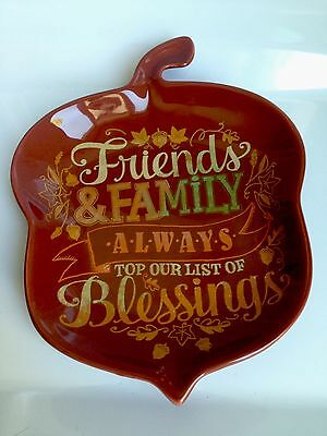BRAND NEW! Hallmark Thanksgiving Autumn Acorn Shaped Ceramic Dish Plate