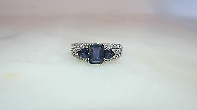 10K White Gold Blue Stone Ring With Diamond Accent THL