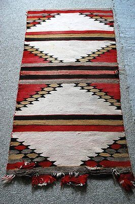 Antique Navajo Small Rug Or Saddle Blanket Nice Old Pattern Lazy Line As Is