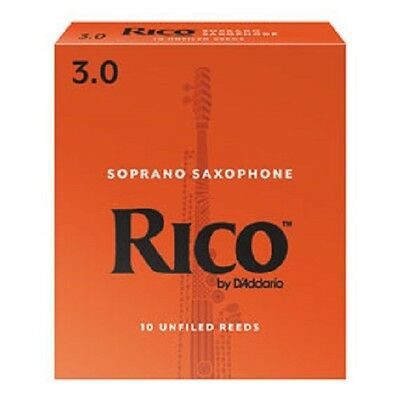 Rico By D'Addario Unfiled Soprano Saxophone Reeds - Box Of 10, Strengths 1.5-3