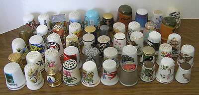 LOT OF FIFTY MIXED THIMBLES CERAMIC and METAL