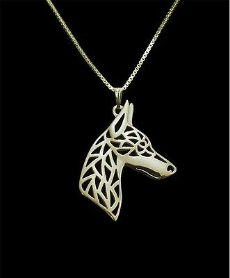 Doberman Jewelry Necklace Pendant Gold Plated Filigree