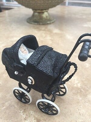 Dolls House Doll 1/12th Scale OOAK Handmade Pram Stunning With Baby