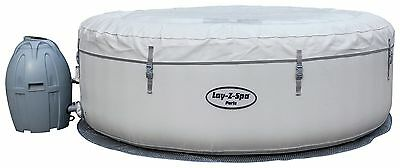 Bestway Lay-Z-Spa Paris 6 Person LED Inflatable Round Heated Hot Tub - White