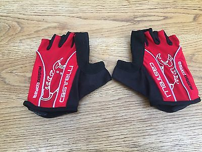 Red & Black Castelli Fingerless Cycling Gloves Size Large