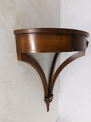 Vintage 1970s Antique Style Hanging Demilune Console Wall Table w Drawer
