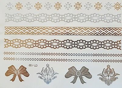 Silver, Gold Ribbons  Flowers Chains Metallic Temporary Flash Tattoo  Transfer