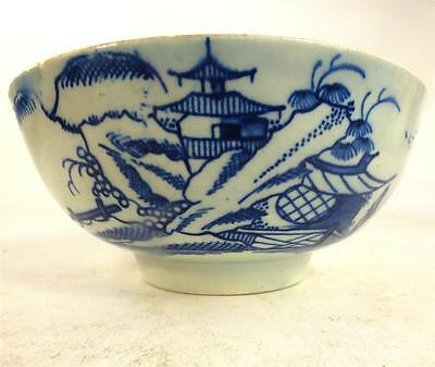 18Th Century Worcester Liverpool Porcelain Bowl Fisherman Pagoda