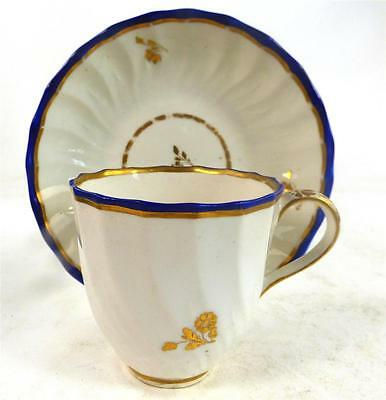 C1790 Derby Porcelain Wrythen Fluted Cup & Saucer Blue Gilt