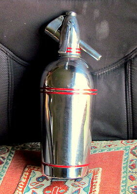 A Sparklets Soda Syphon, SG2, in Chrome With Red Trim