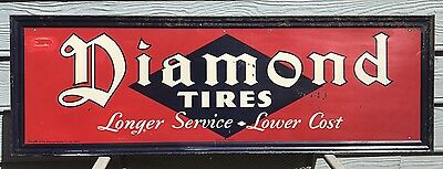 Early 1920/30s Diamond Tires Longer Service Lower Cost Embossed Advertising Sign
