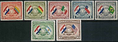 Paraguay Air Mail 1945 Sc#C147-C153, Flags MNH** cp4