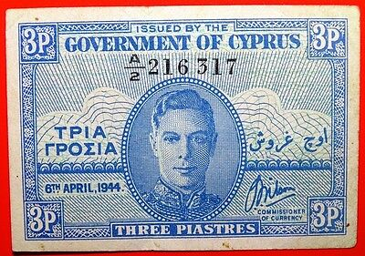 Government Of Cyprus 06-04-1944  3 Piastres Tiny Bank Note Very Fine Rare