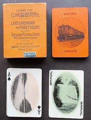 CM&StPRy Milwaukee Road Ca 1922 Wide Deck Railroad Playing Cards w Electric Loco