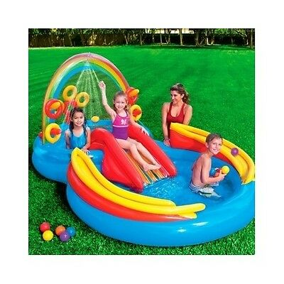Inflatable Rings Home Outdoor Toddler Kids Swimming Pool Play Center Activity