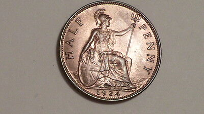 1934 Half-Penny.George V.1911-1936.UNC.Much Lustre.British Bronze.Scarce as such