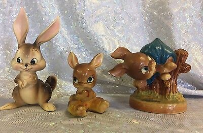 Excellent Vintage Josef Original Ceramic Bunny Rabbit Figurine lot of 3