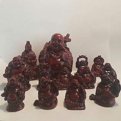 Collection of 13 Resin Buddhas