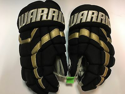 """COMEAU Penguins Warrior Covert Black 14"""" Game Used Worn Hockey Gloves"""