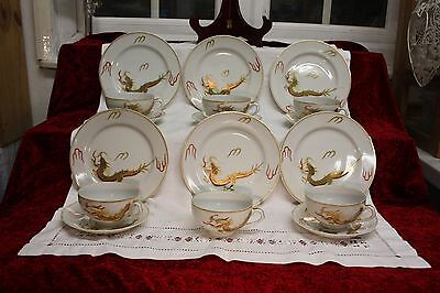 Lovely Japanese Lithophane Tea Set Hand Painted & Gilded 17 Pieces