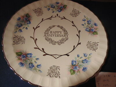 Happy Anniversary Plate,silver Trim,blue Flowers