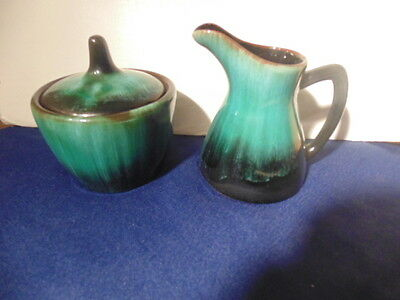 Blue Mountain Pottery Cream &  Covered Sugar Bowl,excellent Condition.